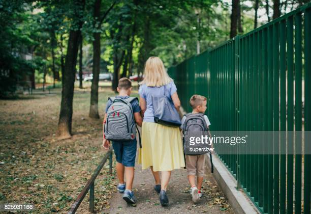 back to school - family with two children stock photos and pictures