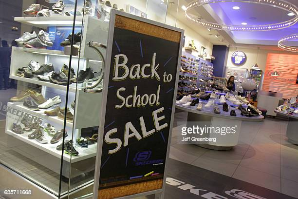 Back to school sale sign in the entrance to Skechers
