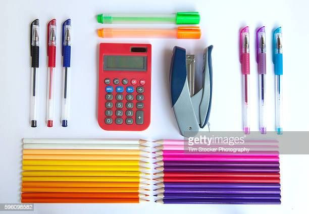 back to school supplies - knolling concept stock pictures, royalty-free photos & images