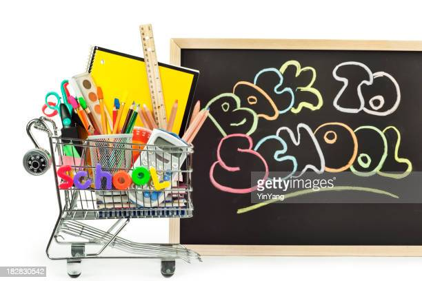 Back to School Supplies Shopping Cart on White Background
