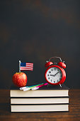 back to school with american flag