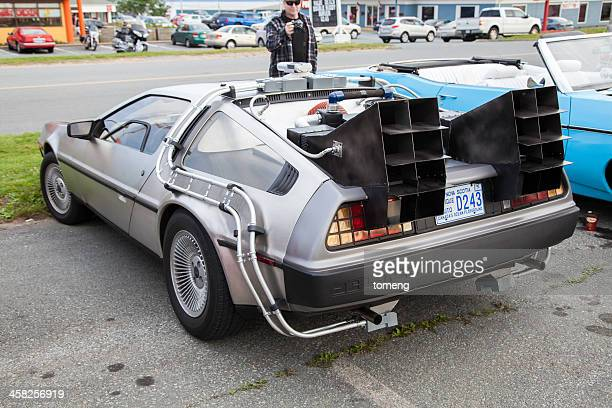 back to the future inspired delorean - time travel stock pictures, royalty-free photos & images
