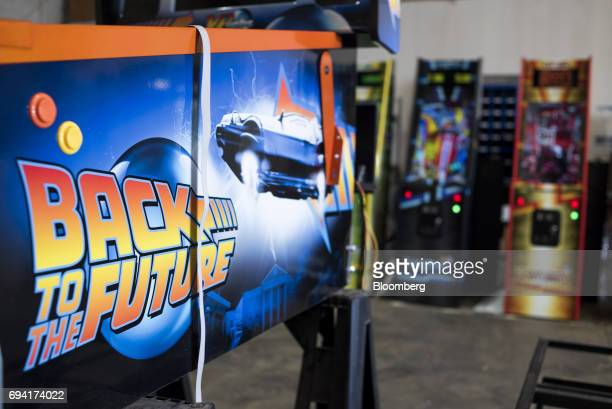 A 'Back To The Future' virtual pinball machine sits in the assembly area at the VPCabs manufacturing facility in Fairfield Ohio US on Thursday June 1...