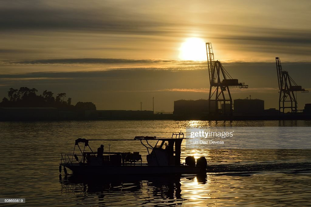 Back to the port at sunset : Stock Photo