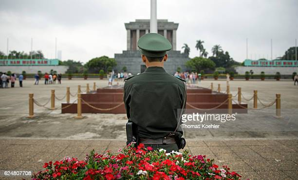 Back view of a guardian in front of the Ho Chi Minh Mausoleum in Hanoi on October 31 2016 in Hanoi Vietnam