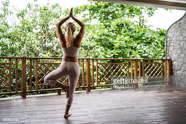 back view of a woman in a tree pose. - tree position stock photos and pictures