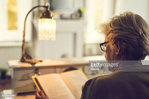 Back view of an old woman reading a book.
