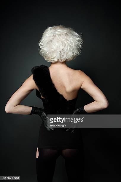 Back view of beauty girl with styled white hair.