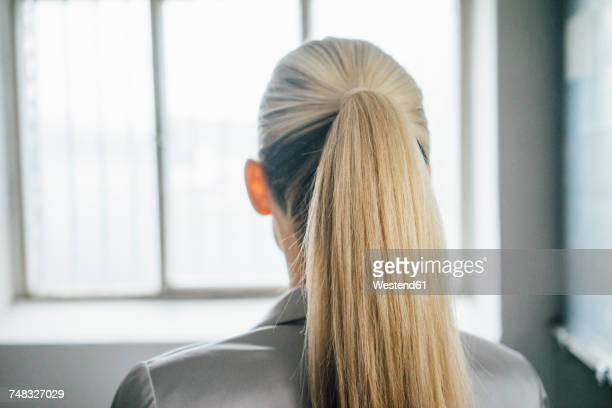 back view of blond woman with ponytail - ponytail stock pictures, royalty-free photos & images