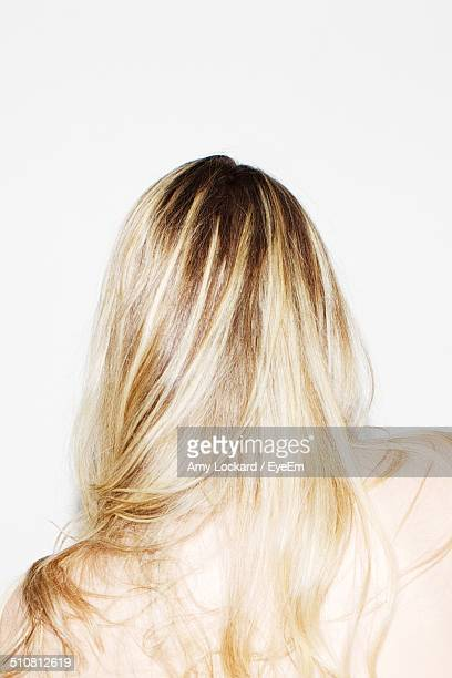 Back view of blonde woman