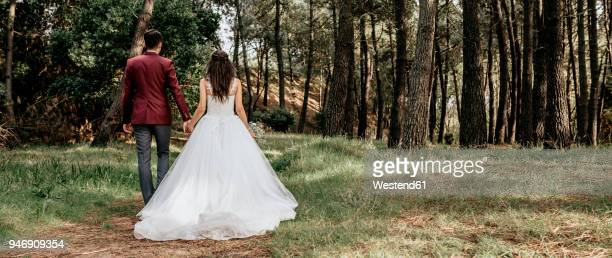 back view of bride and groom walking in forest - western europe stock pictures, royalty-free photos & images