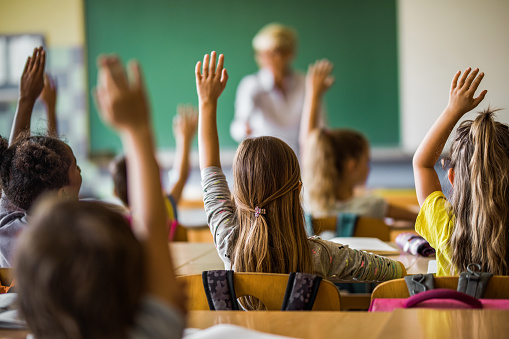 Back view of elementary students raising their arms on a class. 1000887536