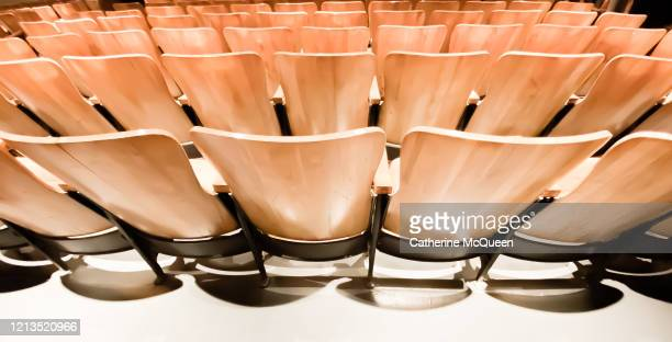 back view of empty orchestra & theater seating - filmfestival stockfoto's en -beelden