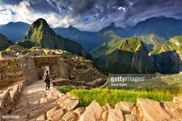 back view of female tourist descending stairs overlooking machu picchu ruins at sunset, peru - peru stock pictures, royalty-free photos & images