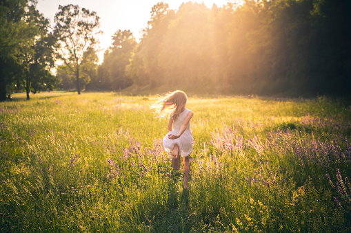 Back view of girl running on flower meadow at evening twilight - gettyimageskorea