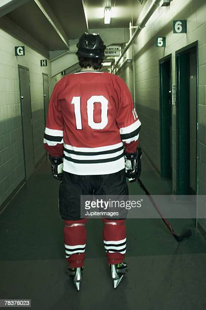 Back view of ice hockey player