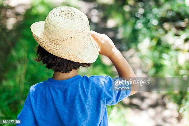 back view of little boy wearing straw hat in summer - 麦わら帽子 ストックフォトと画像