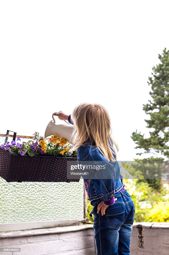 Back view of little girl watering plants on balcony : Stock Photo