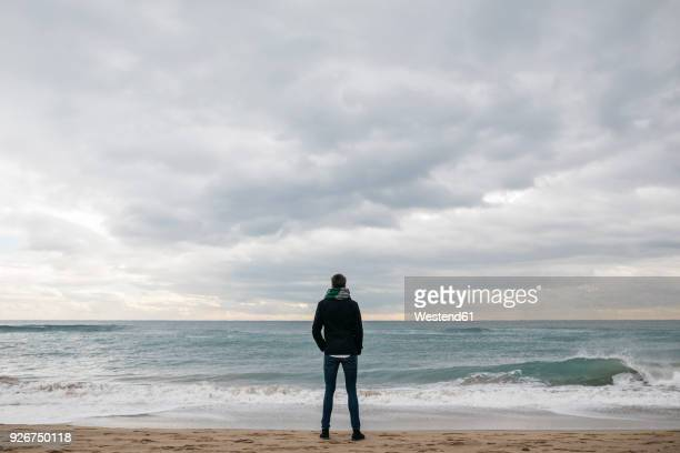 back view of man standing on the beach in winter looking at distance - riva dell'acqua foto e immagini stock