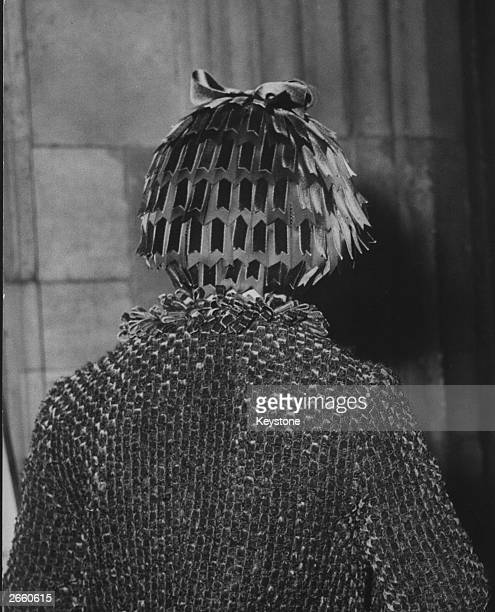 Back view of Princess Margaret , at a service at Westminster Abbey, London, wearing an unusual hat.