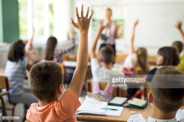 Back view of schoolboy raising hand to answer the question.