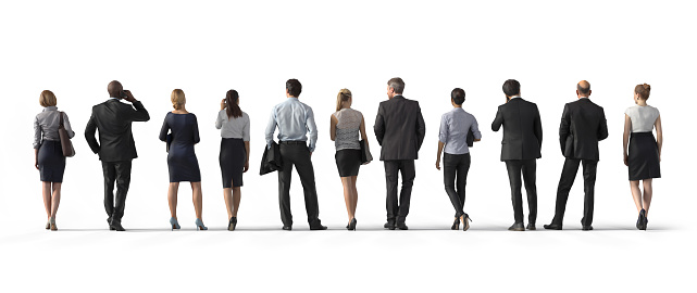Back view of standing business people. Illustration on white background, 3d rendering isolated. 909772918
