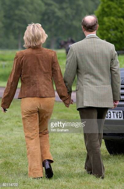 Back View Of The Earl And Countess Of Wessex Walking Hand In Hand At The Royal Windsor Horse Show On Their First Appearance In Public After...