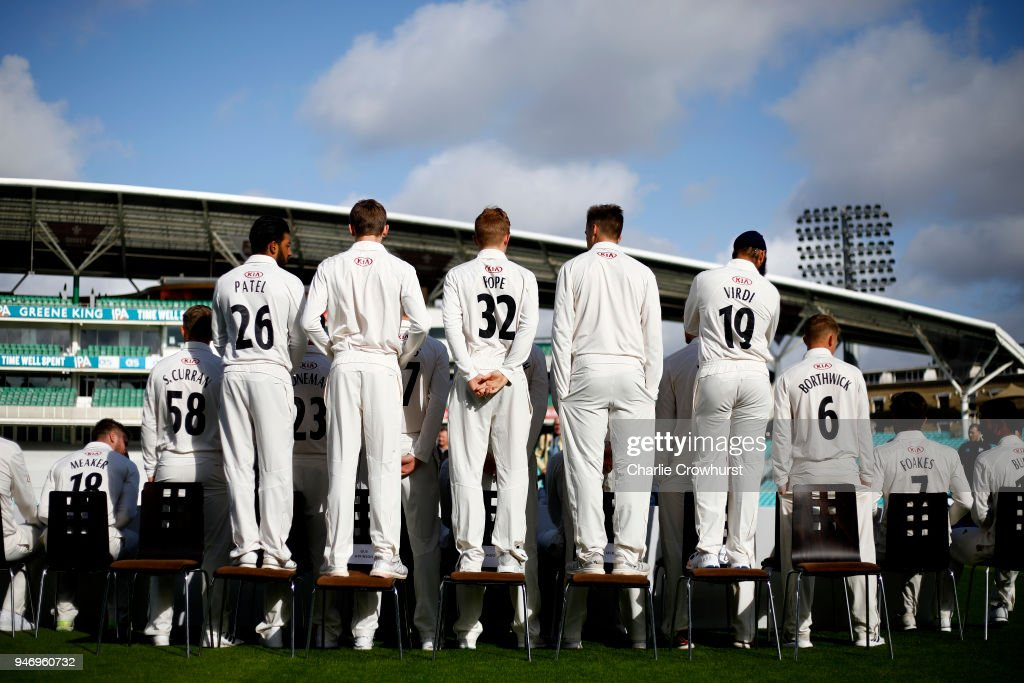 A back view of the Surrey CCC squad photo during the Surrey CCC Photocall at The Kia Oval on April 16, 2018 in London, England.