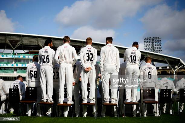 A back view of the Surrey CCC squad photo during the Surrey CCC Photocall at The Kia Oval on April 16 2018 in London England