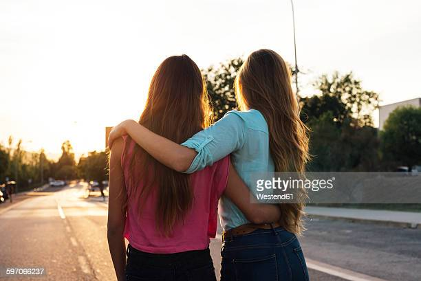 Back view of two female friends watching sunset arm in arm