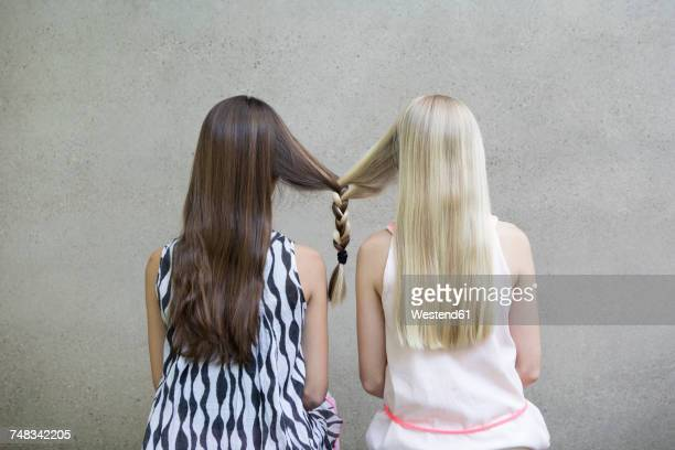 back view of two long-haired girls with one braid - legame affettivo foto e immagini stock