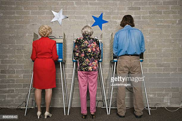 Back view of voters at voting booths