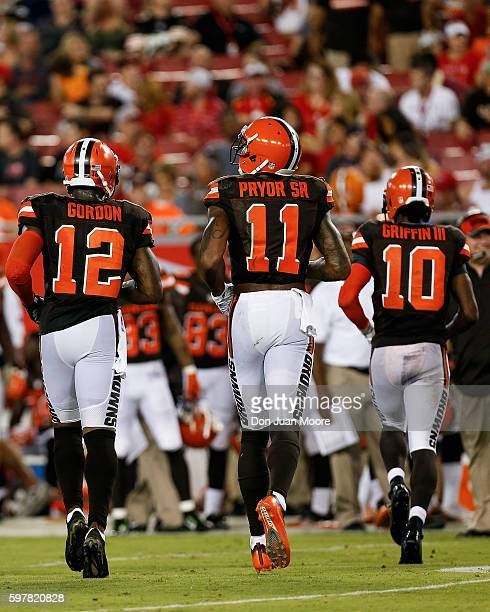 A back view of Wide Receivers Josh Gordon Terrelle Pryor and Quarterback Robert Griffin III of the Cleveland Browns after a score during a preseason...
