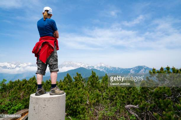 back view of woman looking from the top of land at mountain pikes - moment of silence stock pictures, royalty-free photos & images