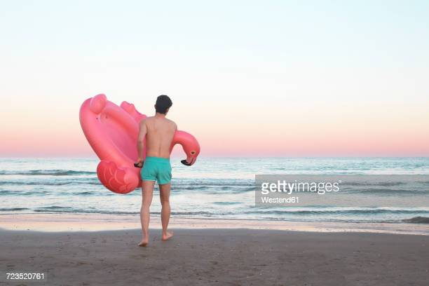 Back view of young man with inflatable pink flamingo on the beach