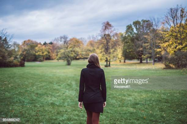 back view of young woman walking on a meadow in autumnal park - black coat stock pictures, royalty-free photos & images