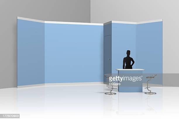 back wall fair display with silhouette of a lady - tradeshow stock pictures, royalty-free photos & images