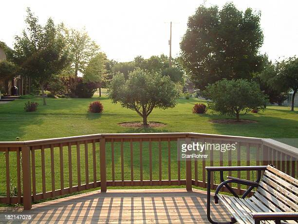 back yard deck - railing stock pictures, royalty-free photos & images