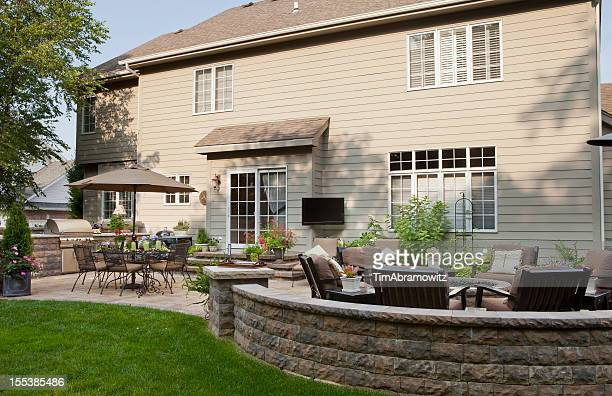 back yard patio and landscaping - fire pit stock pictures, royalty-free photos & images