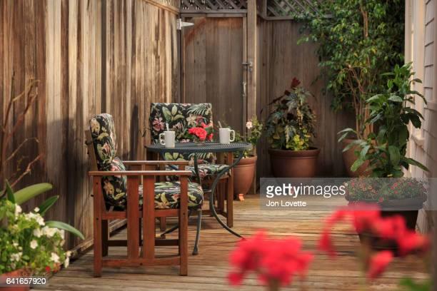 Back yard patio with coffee
