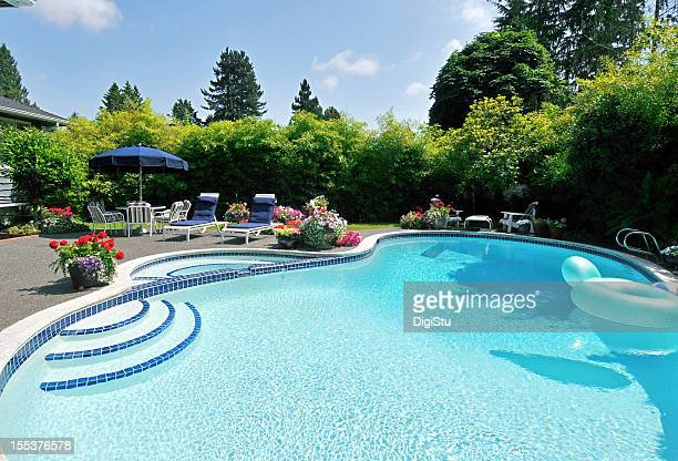 back yard pool - pool stock pictures, royalty-free photos & images