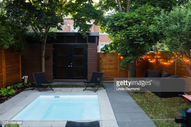 back yard with a small swimming pool - small stock pictures, royalty-free photos & images