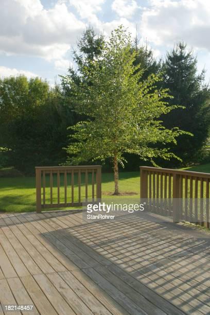 Back Yard Wood Deck With Evening Shadows 2