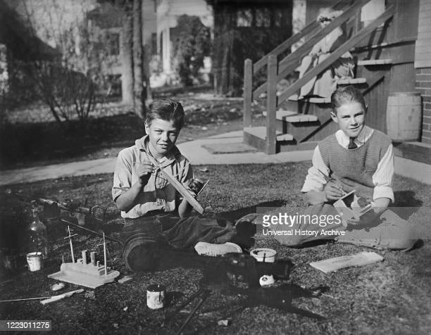 Back Yard Workshop, while School was closed for Influenza, Denver, Colorado, USA, American National Red Cross Photograph Collection, May 1919