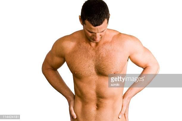 rückenschmerzen - hairy chest stock-fotos und bilder