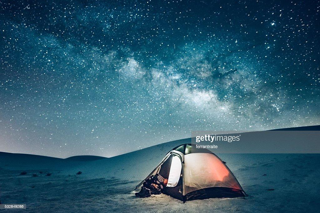 犬ぞり、星空の下でのキャンプ : ストックフォト