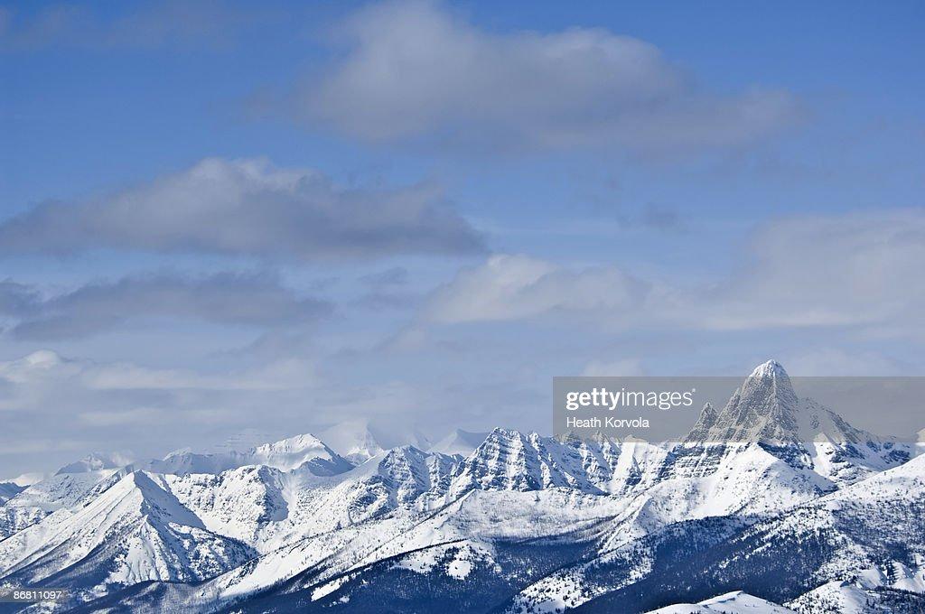 Backcountry ski traverse in Glacier National Park, MT. : Stock Photo