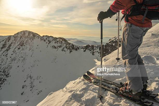 backcountry skier at mountain top, bulgaria - ski pants stock pictures, royalty-free photos & images