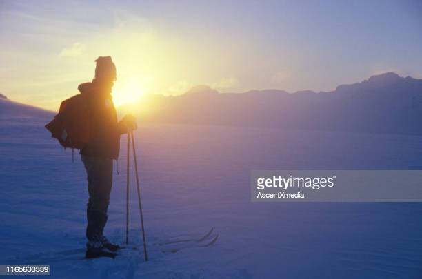 backcountry skier backlit in the morning sun on bow glacier - winter sport stock pictures, royalty-free photos & images