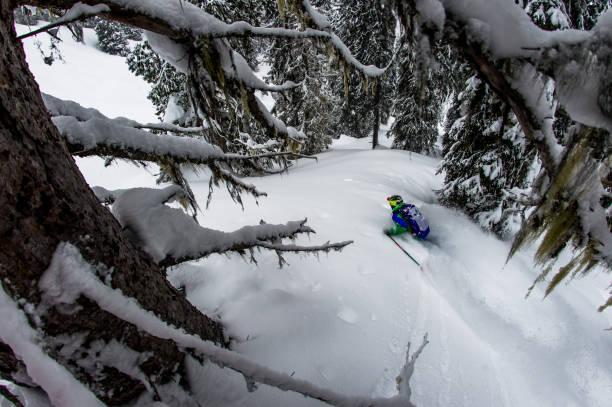 Backcountry skier descends steep, deep powder slope